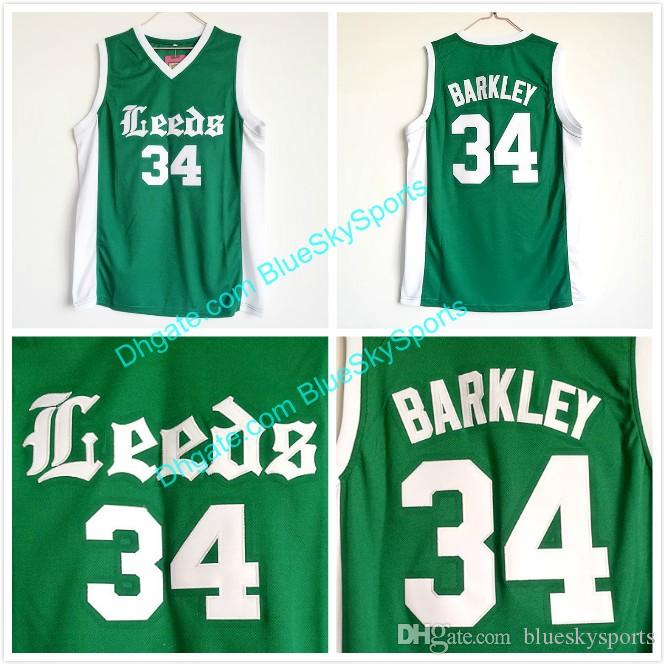 61302e37 Men's Leeds High School #34 Charles Barkley Jersey Green Stitched College  Basketball Jersey Fast Size S-XXL