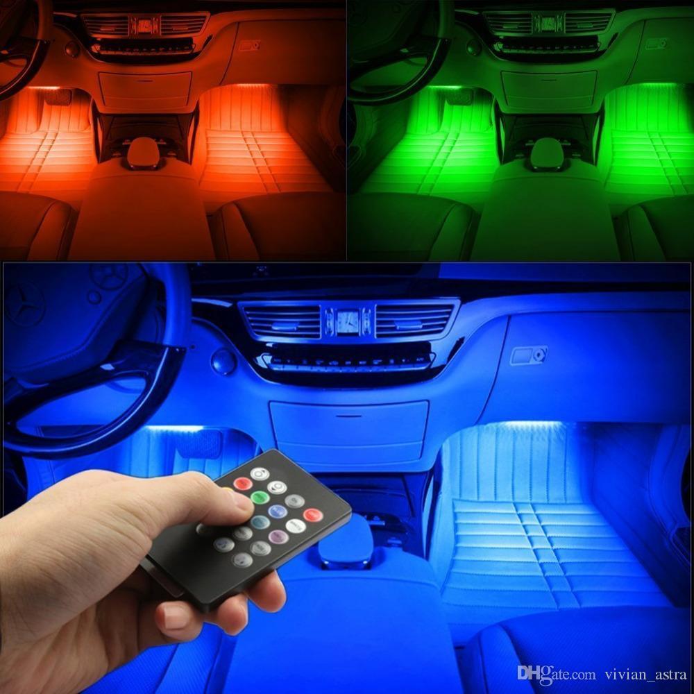 Rgb ضوء 4 قطع 48led usb الموسيقى الصوت نشط سيارة الداخلية أدى شرائط ضوء dc12v أضواء السيارات جو underdash الإضاءة قطاع كيت