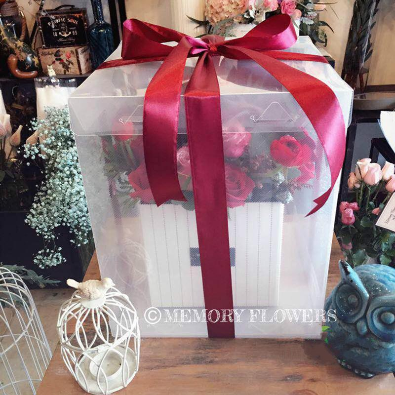 handhold flower box transparent wedding party flower box packaging gift 3 different sizes not include silk ribbon cheap gift wrapping paper cheap gift