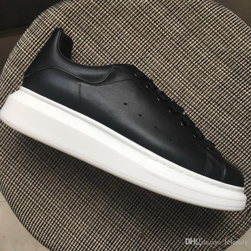 f24333b345 New 2018 Men Women Black Leather Low Top Platform Sneakers,Brand Designer  Lovers Thick White Bottom Casual Shoes 35 44 Drop Shipping Navy Shoes Blue  Shoes ...