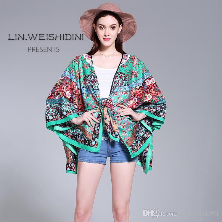 Summer New Anomalistic silk Scarves Bikinis overalls Sunscreen Scarves Sleeve Shawl Beach Scarfs Muffler Muslim Hijab Bufandas