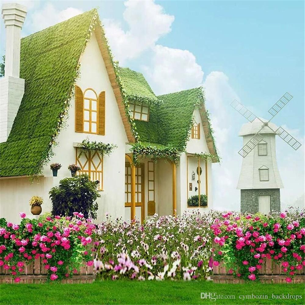 Outdoor Garden Wedding Photography Backdrops Printed Blue Sky Houses Spring Flower Blossoms Green Grass Scenic Photo Backgrounds for Studio