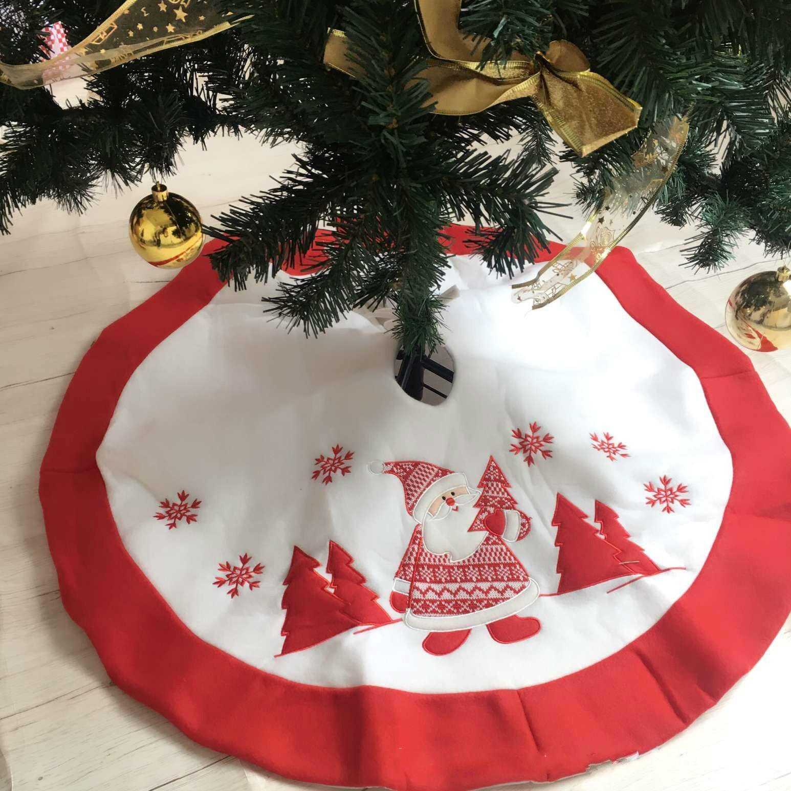 Christmas Tree Skirt 90 Cm Christmas Embroidery Tree Skirt Christmas