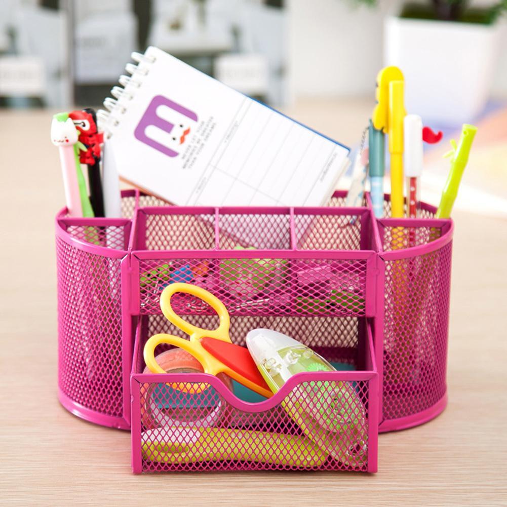 Organizador de escritorio de malla organizador de la caja de almacenamiento Titular de la pluma 9 Celdas Caja de almacenamiento de escritorio de oficina Oficina Lápiz Titular de lápiz Cajas de almacenamiento para el hogar envío gratis