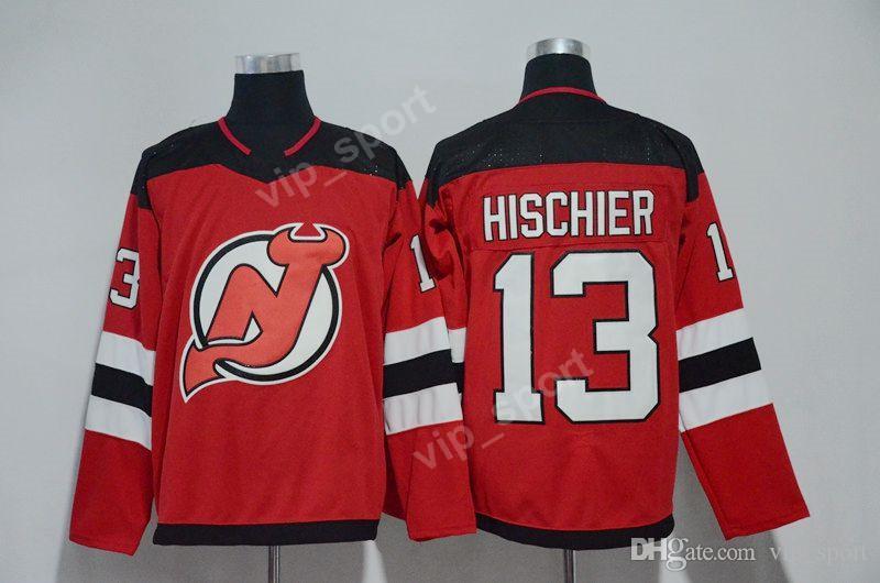 Nova Jersey Devils Hóquei no gelo 9 Taylor Hall 13 Nico Hischier Jersey Red USA Bandeira 100th Aniversário 30 Martin Brodeur 35 Cory Schneider
