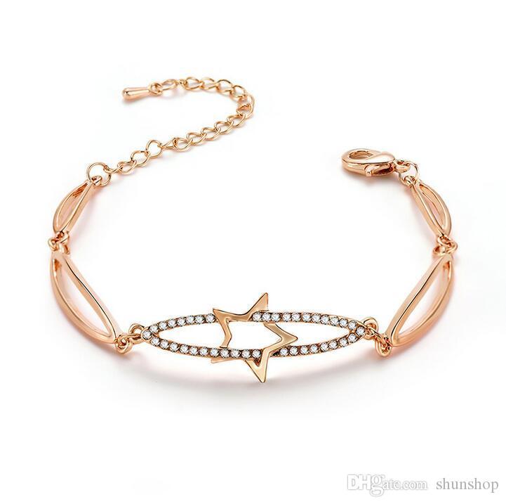 the latest 88499 9ab92 Nuovi bracciali a forma di stella con braccialetti per le donne Bracciali  con braccialetti semplici per ragazze di cristallo Regalo di Natale di ...