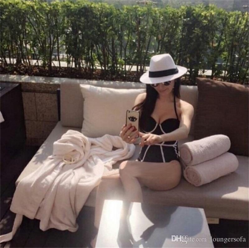 Summer Fashion Women Bikini traje de baño traje de baño negro Una pieza traje Ladies Sexy empalme se reúnen traje de baño 21sr W
