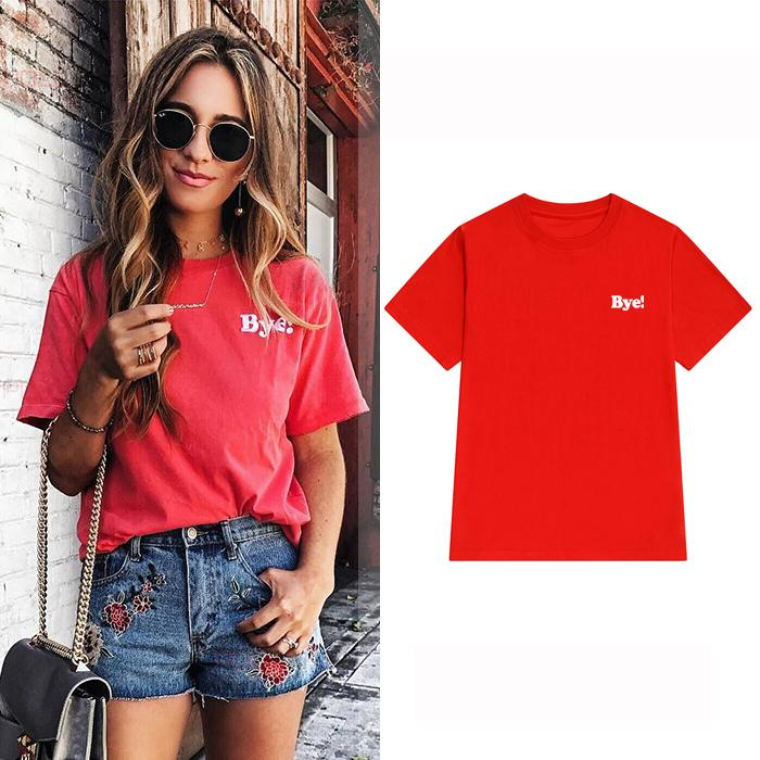 af6c287b New Design Mesh Top Women T-shirts Red Cotton Round Neck Bye! Printed Shirts