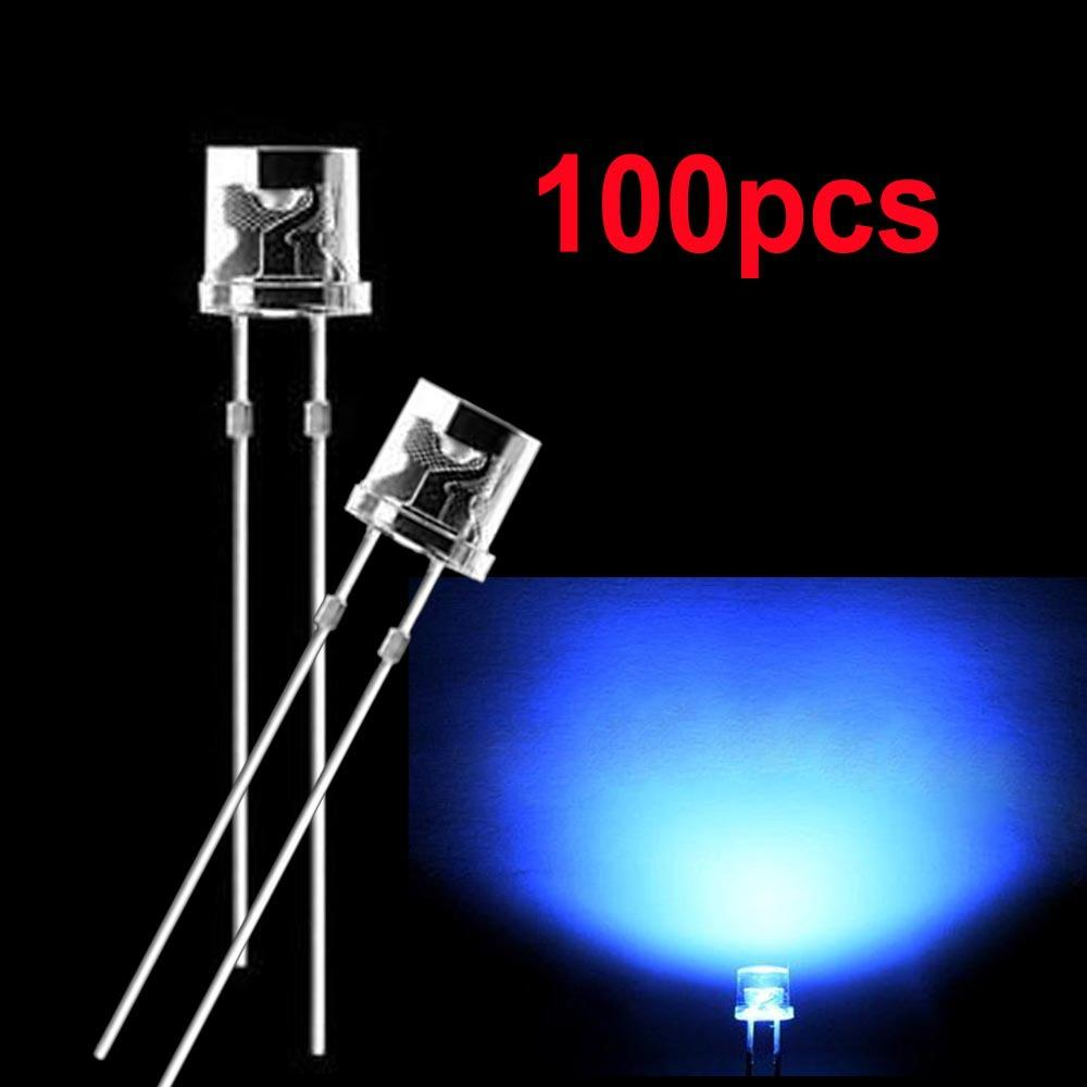 5mm Blue 2pins Flat Top Dip Led Diodes Clear Super Bright Wide Angle