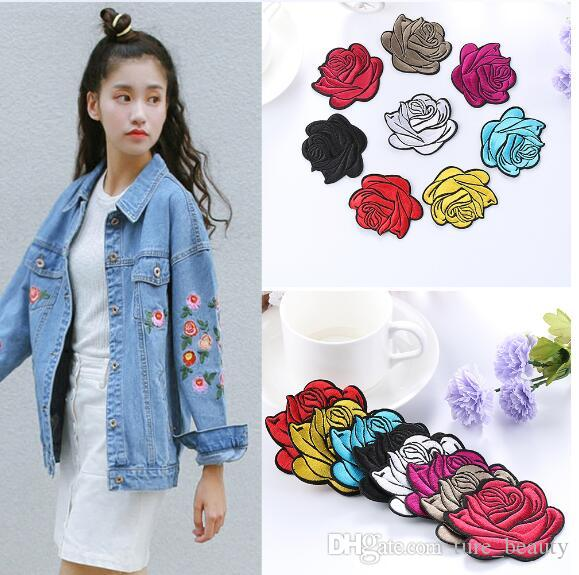 Fabric Red Rose Patch Jeans Applique DIY Embroidered Craft Iron Sew ... dc260c193579
