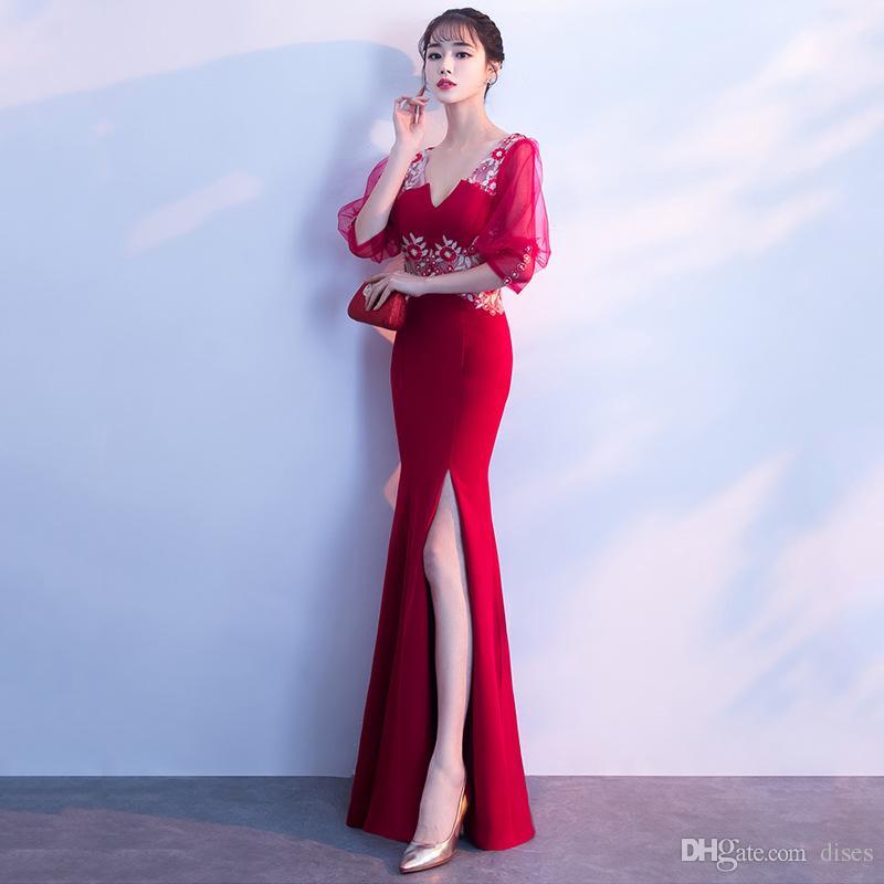 Abendkleid 2018 neue Sommer lange rote Hochzeit Toast Kleidung schlank Fischschwanz Party Kleid Kleid weiblich