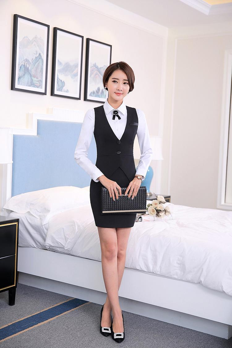 2018 Moda carreira de negócios senhoras colete desgaste do trabalho uniformes Magros Com Decote Em V Formal vestidos mulheres coletes de escritório Preto plus size S-4XL