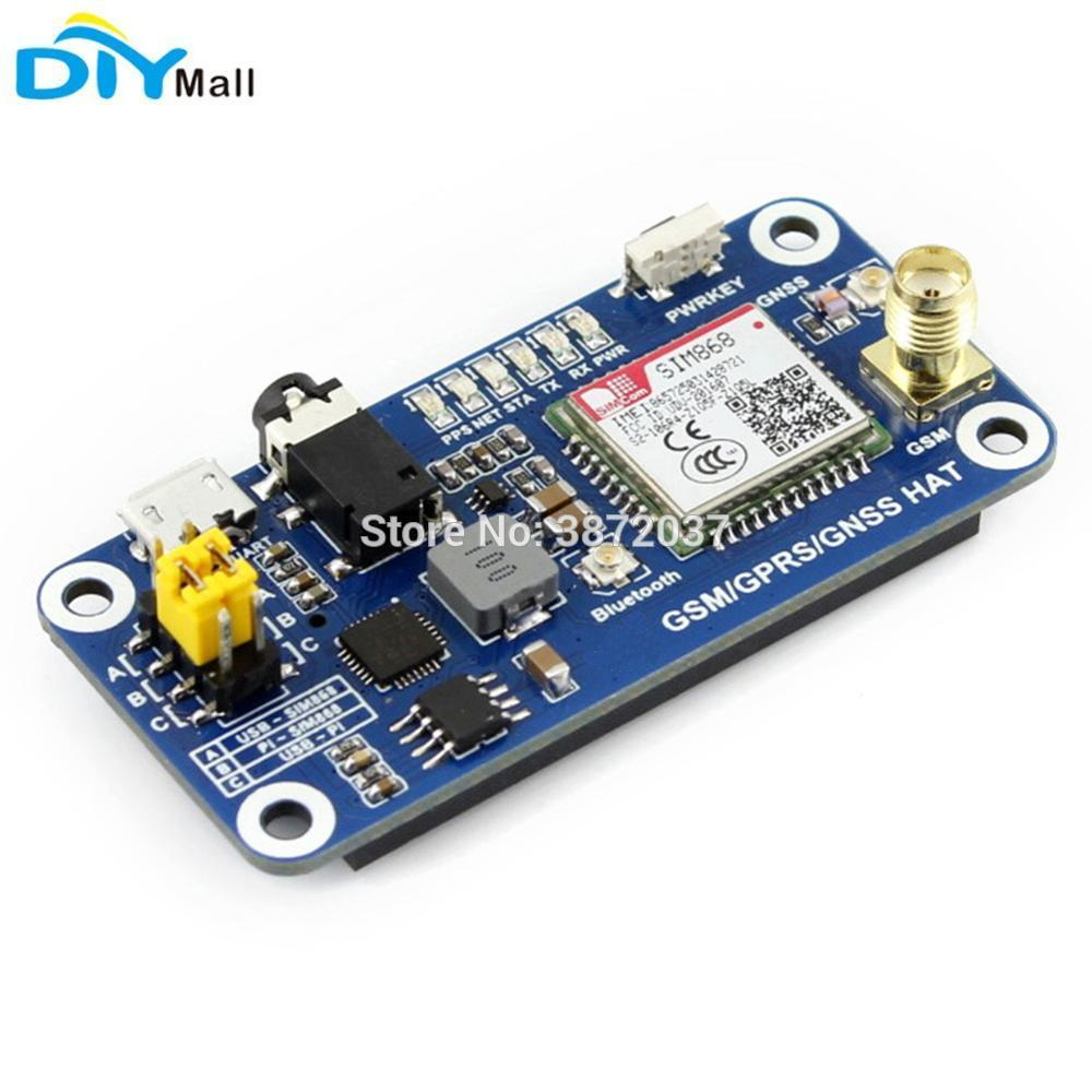 SIM868 Module GSM GPRS GPS GNSS Bluetooth 3 0 HAT SMS Phone Call for  Raspberry Pi 2B/3B/Zero/Zero W