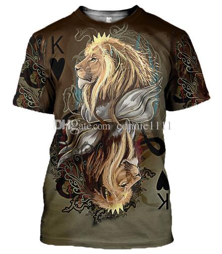 Haut Lion Impression S Creative Femmes Manches Courtes Shirt 3d Couronne Mode T Hommes Coloful 12 Styles 5xl Streetwear À Imprimé 0wN8PkXnO