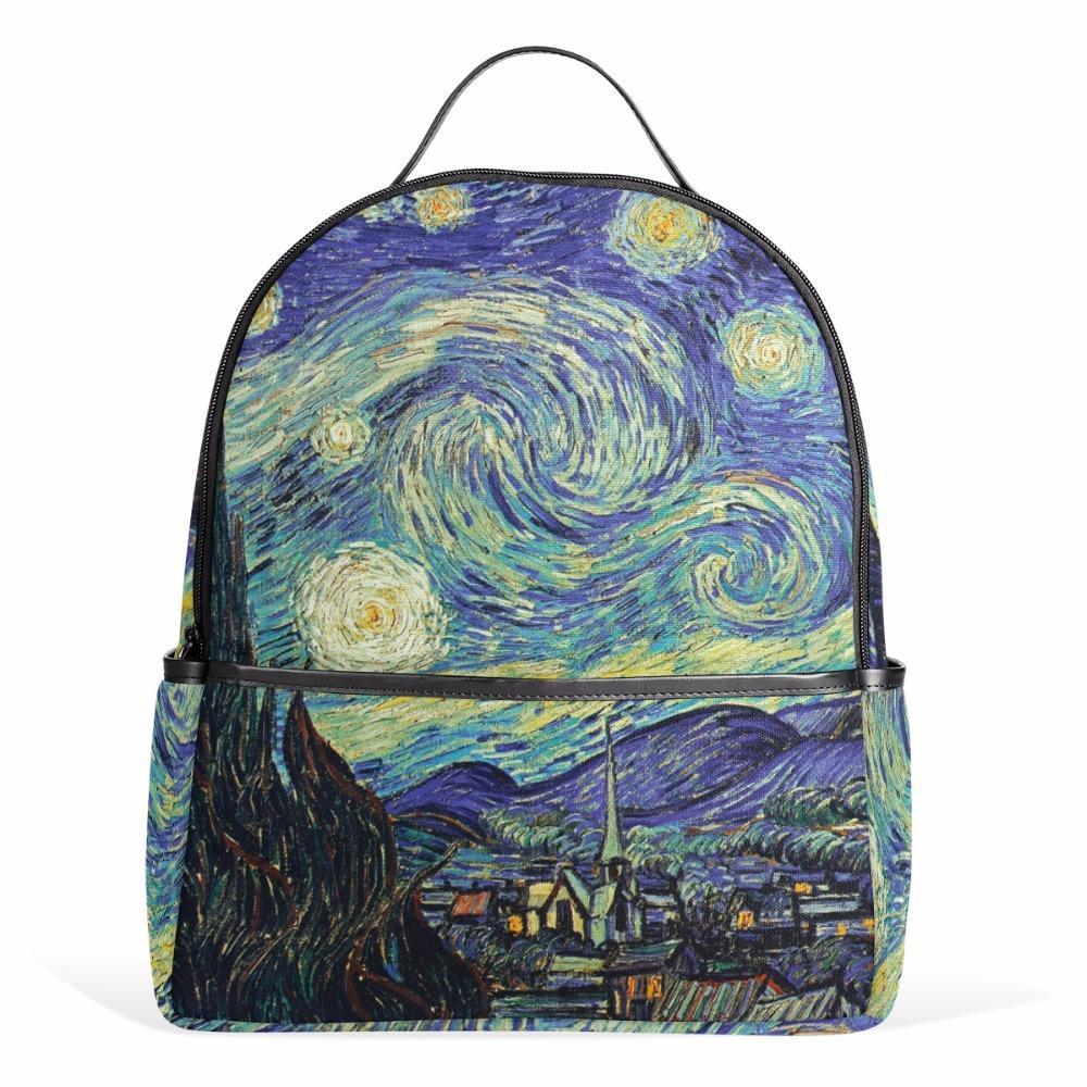 90391679410e2 Satın Al Yıldızlı Gece Sırt Çantası Van Gogh Yağlıboya Kadın Kadın Çantaları  Dizüstü Fermuar Çanta Genç Kızlar Boys Için Okul Çantası 12 Inç, ...