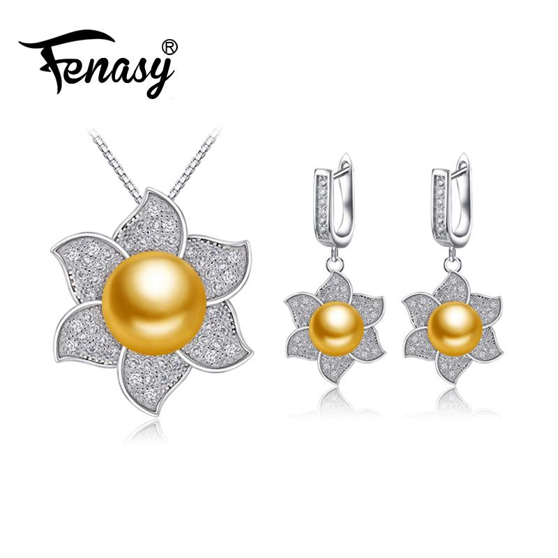 f877e4af60282 FENASY natural freshwater Pearl Jewelry sets pearl necklace for Women  Necklace/big flower clip earrings wedding jewelry