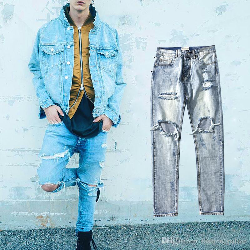 6c8de75f 2019 New Style Ripped Distressed Jeans For Man Slim Fit Destroyed Hole Biker  Jeans Justin Bieber Kanye Hip Hop Streetwear BFSH0803 From Fashion_palace,  ...