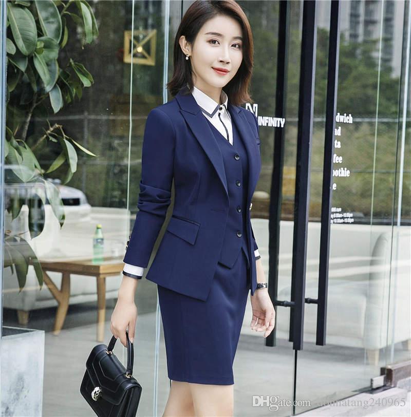 Formale Weibliche Rock Anzüge Für Frauen Anzüge Blazer Und Jacke Sets Elegante Damen Arbeitskleidung Büro Uniform Styles Anzüge & Sets Rock-anzüge