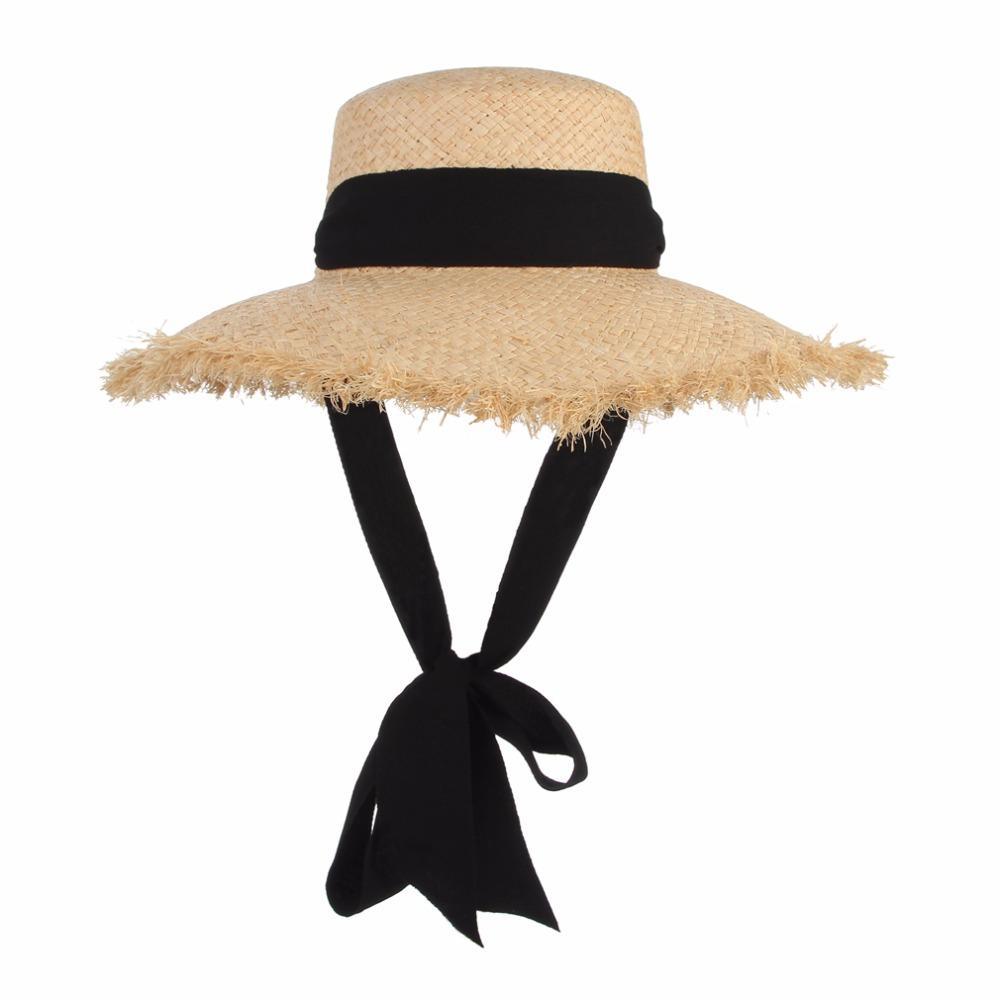 Handmade Weave Raffia Sun Hats For Women Black Ribbon Lace Up Large Brim  Straw Hat Outdoor Beach Summer Caps Chapeu Feminino Mens Straw Hats Mens Hat  Styles ... e84325a19a4