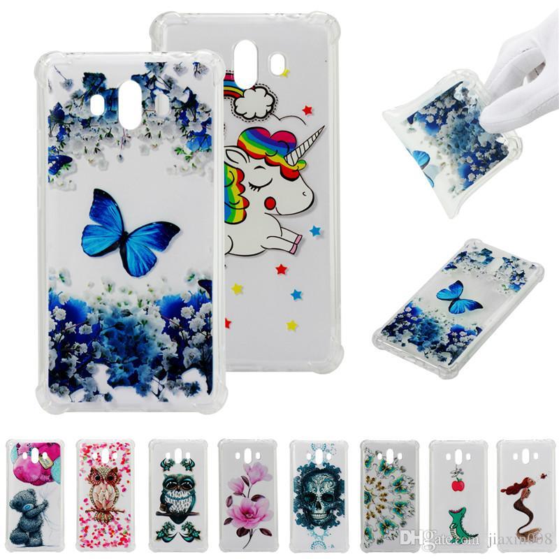 Azul Mate De Para Huawei Cubierta Suave Móviles Tpu Dibujo Color Teléfonos Golpes Mariposa Transparente Prueba Funda Fundas 10 Coque A 4L5jA3R