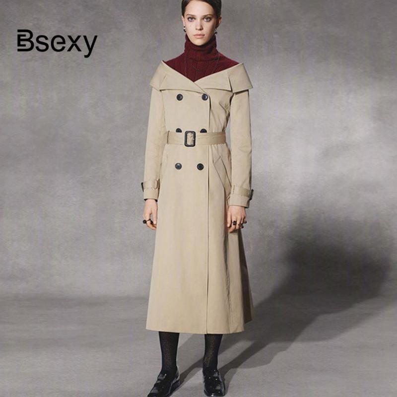 newest 2fcb7 17d76 Eleganter extralanger Trenchcoat Damen Zweireiher Trench Wintermantel  Windbreaker aus der Schulter Kleid Mantel mit Gürtel
