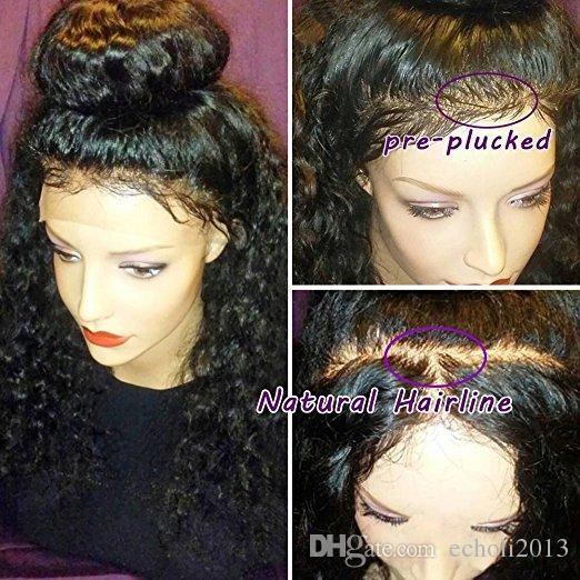 360 Dantel Frontal Peruk kinky kıvırcık Öncesi Koparıp Hairline 360 Dantel Ön İnsan Saç Peruk Siyah Kadınlar için Kıvırcık Saç Peruk 12 inç 150% Yoğunluk