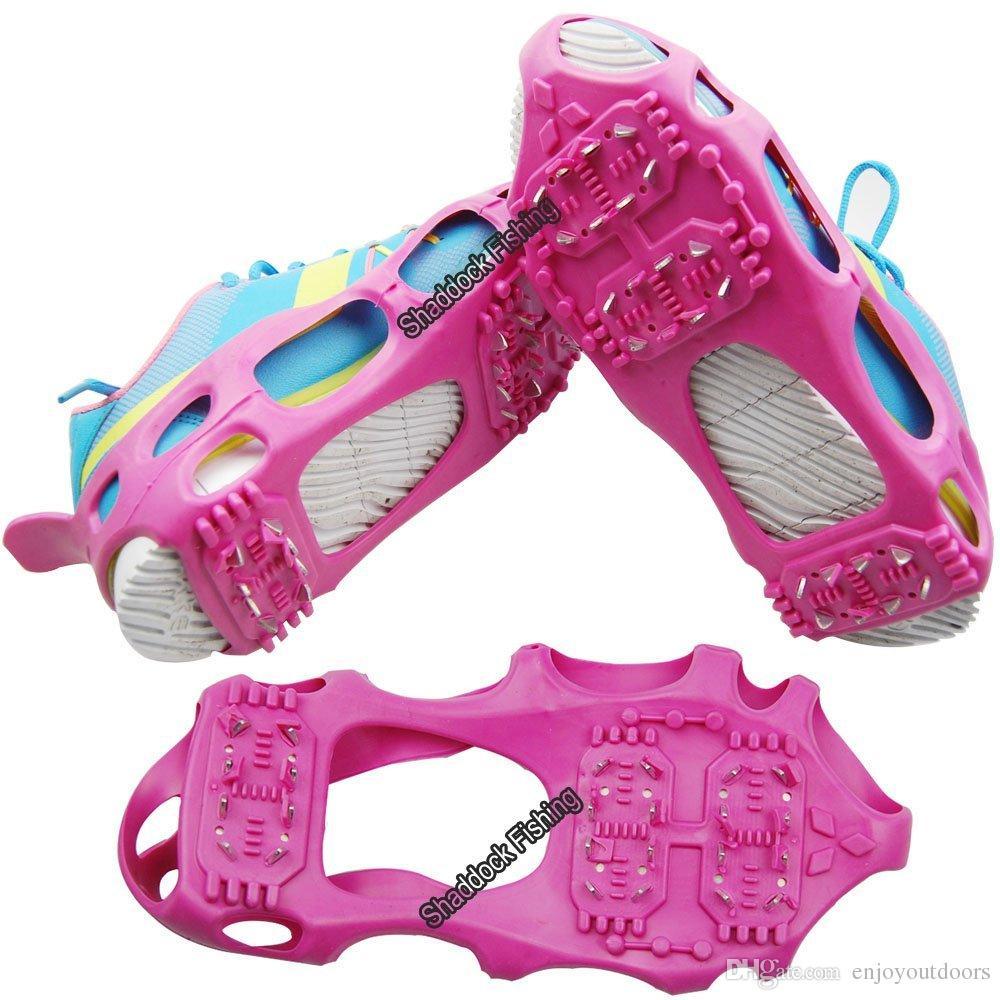 24 dientes Ice Snow Grips Grippers Gran tamaño antideslizante Lite Duty Serious Ice Sonw Tacos de tracción para zapatos Botas Cubre zapatillas