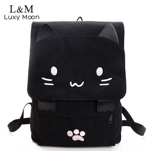 7e9b3a3fa1e3 Cute Cat Canvas Backpack Cartoon Embroidery Backpacks For Teenage Girls School  Bag Fashio Black Printing Rucksack Mochilas XA69H Backpacks For Teenager ...