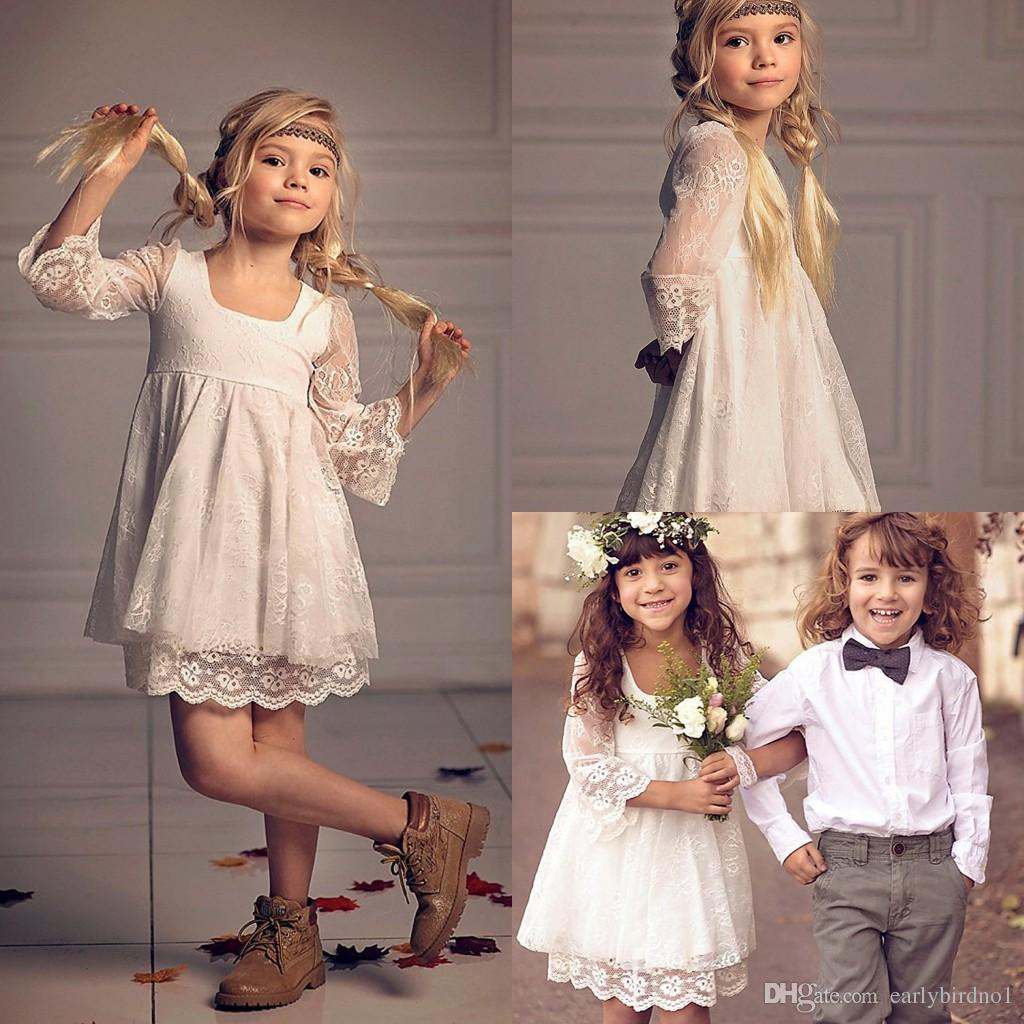 ddb33f0a7734 New Full Lace Country Style Flower Girls' Dresses With 3/4 Long Sleeves  2018 Cute Ivory Short Little Girls Party Gowns Cheap MC1550