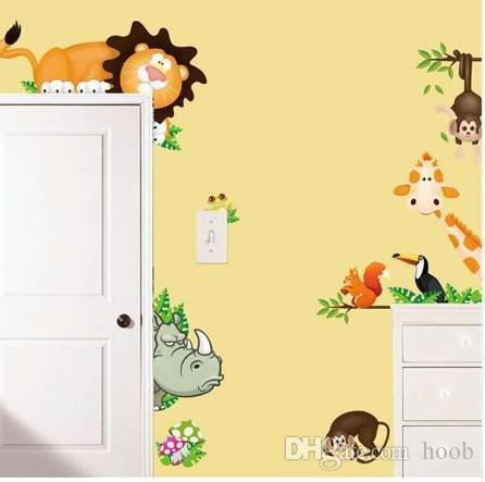 Jungle Animal Kids Baby Nursery Wall Stickers Poster Children Home Decor PVC Mural Cartoon Wall Decal Adesivo De Parede infantil