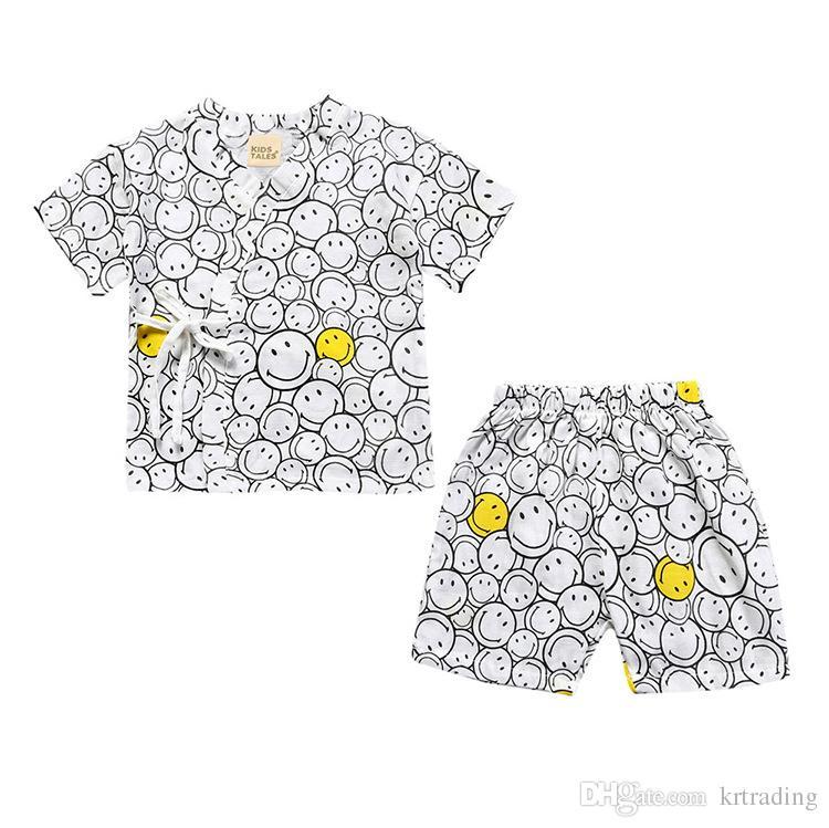 Children cotton gauze pajamas set Lace-up blouse+short pants emoji flamingo whale pattern cute kids homewear suit 1-6T