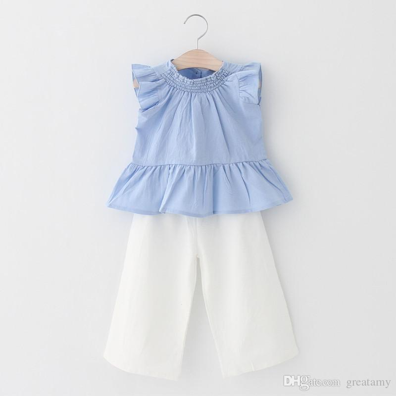 baby clothes girls flouncing tops+loose pants clothing set girl's outfits children suit kids summer fashion clothes