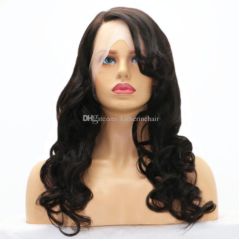 lose Welle brasilianische Haarperücken für schwarze Mädchen unverarbeitete Menschenhaarfrontspitzeperücke leimlose Perücke