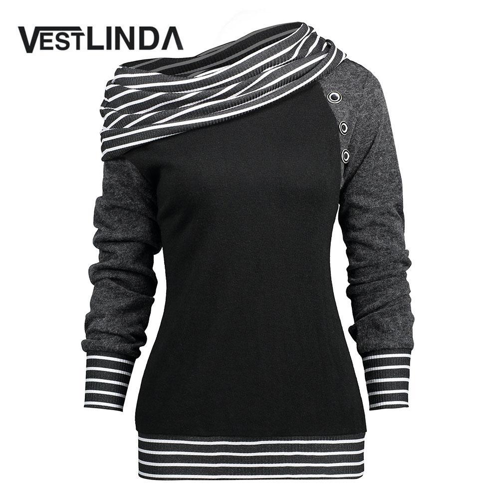 10dcc353 VESTLINDA T Shirt Women Stripe Trim Skew Neck Raglan Long Sleeve T Shirts  Winter Spring Womens Tops Tees Shirt Casual T Shirts Custom Shirt Black  Shirts ...