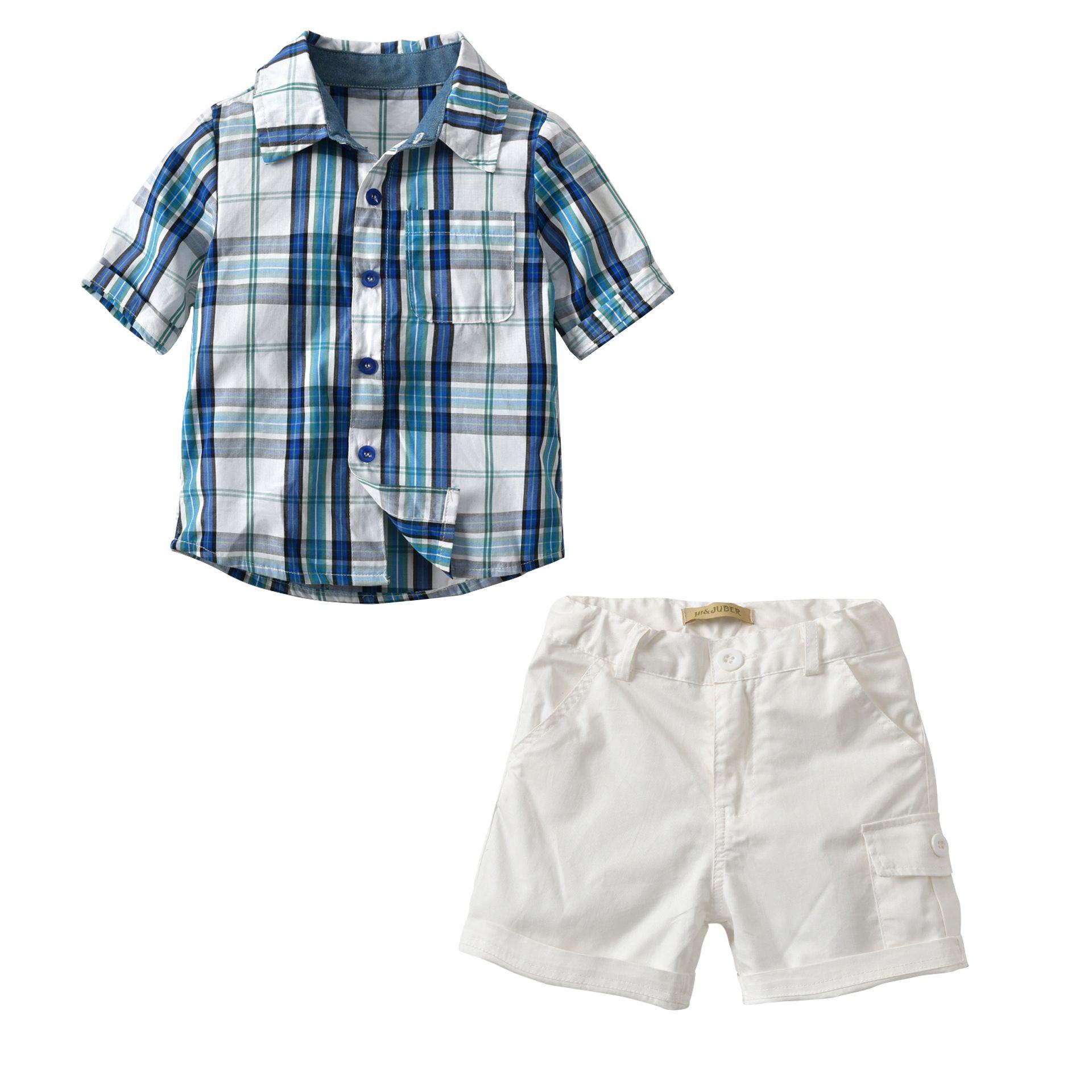 5027abd09 2018 Summer Boy Plaid shirts Short sleeve + shorts 2pcs set 100% Cotton  Child clothing Wholesale 1-5T