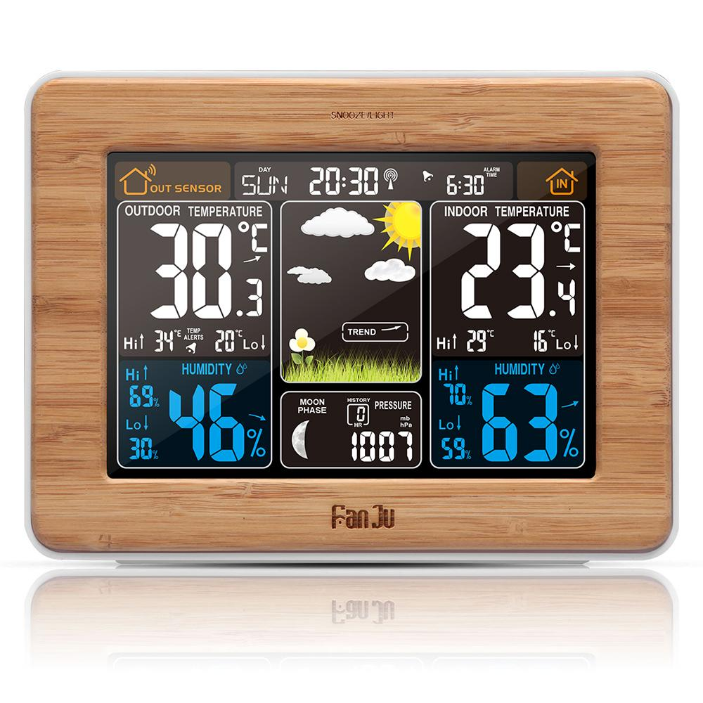 FJ3365 Weather Station Color Forecast With Alert | Temperature | Humidity  Barometer Alarm Moon Phase Digital Barometer