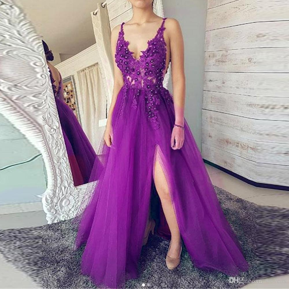540241b2d6c Sexy Purple A Line Prom Dresses Spaghetti Strap V Neck Front Side Split  Illusion Party Skirt Tulle Long Special Occasion Gowns