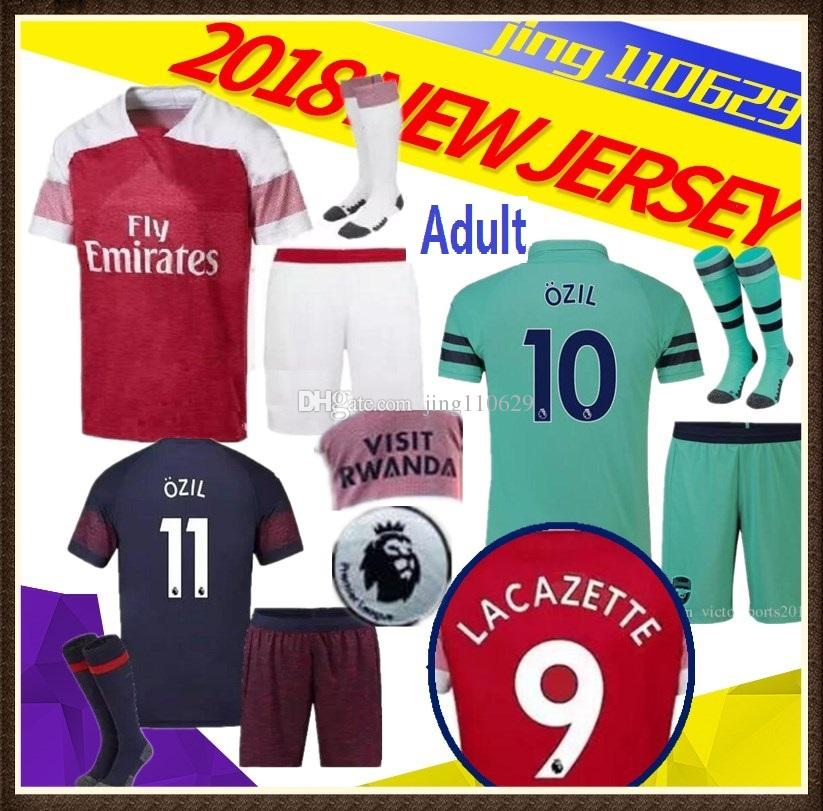 huge selection of b1f88 96a76 Adult KIT 18 19 arsenal soccer jersey AUBAMEYANG LACAZETTE home 10 OZIL  MKHITARYAN 2018 XHAKA RAMSEY THIRD MEN football shirts