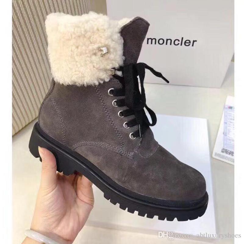 4eb353189bef6 M0NCLER Ankle Boots Casual Women Shoe Snow Boot Plush Lace Up Warm Cotton Ladies  Shoes Fur Leisure Snow Boots Shoes Women Plus Velvet Design Suede Boots Men  ...