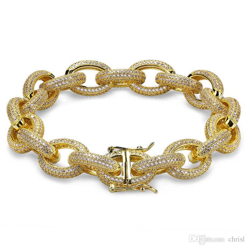 12MM Hip Hop Iced Out Hommes Bracelets Or Argent Cubique Zircon Épais Matériel De Cuivre Lourd Twisted et Ovale Lien Bracelet 7