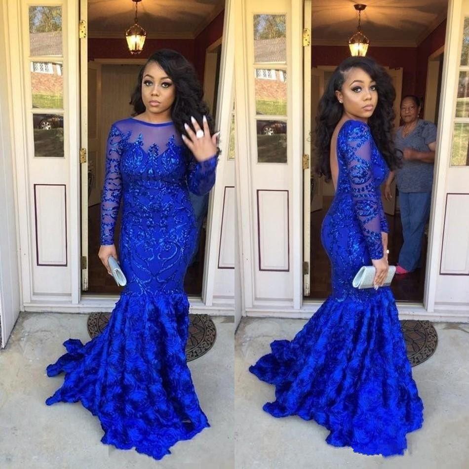 Großhandel 2018 Neueste Royal Blue Prom Kleider 3d Applikationen ...