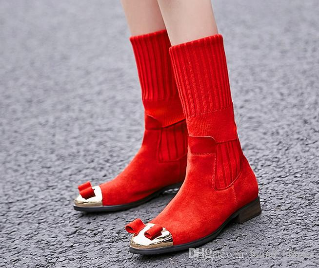 2018 Autumn Winter Elastic Sock Flat Shoes Red Bowknot Wool Knee Boots Black Laides Knight Boots Round Toes Solid Flat Knee Boots
