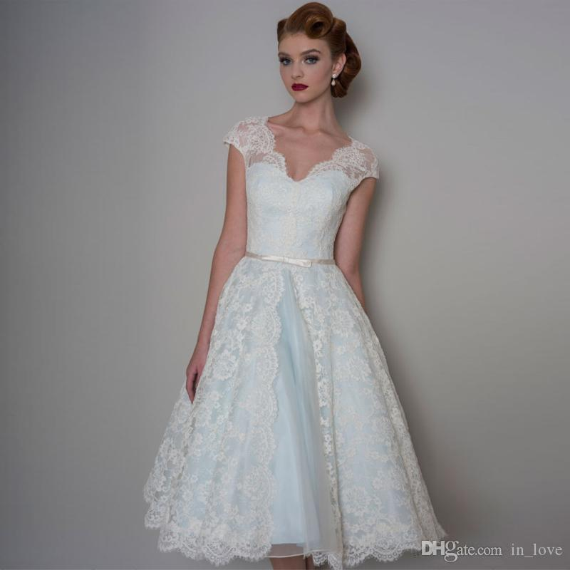 Discount 50s Vintage Short Wedding Dress Cap Sleeve V Neck