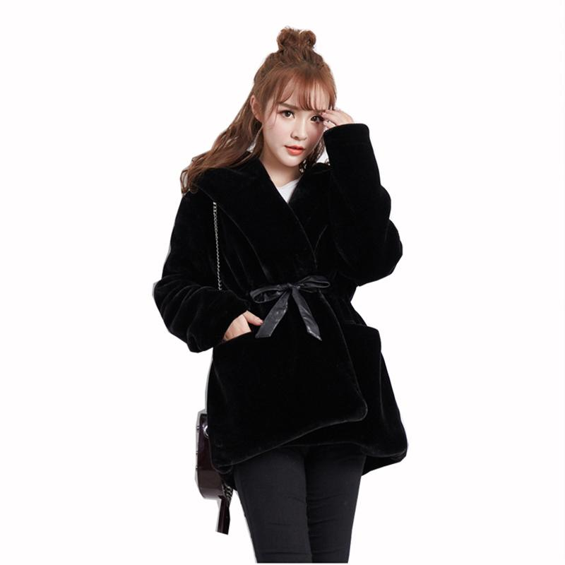 Women Fur&Faxu fur Coat Winter 2018 New Style Fashion Hooded Warm Jacket Casual Slim Large size Belt Female Jacket LADIES804