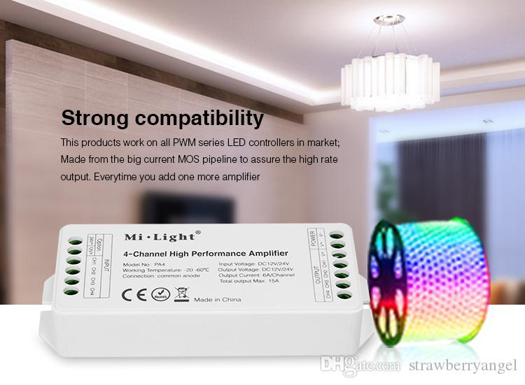 Free shipping Mi Light 4-Channel DC12V-24V LED Signal Amplifier use with  PWM controller MAX15A Hight Performance for led tape