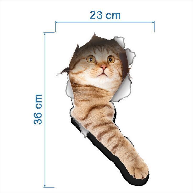 Katze Hund Lebendige 3D Wc aufkleber Wandaufkleber Bad Wc Dekorationen Kinder Geschenk Küche Nette Wohnkultur Aufkleber Wandbild Tier Wand Poster