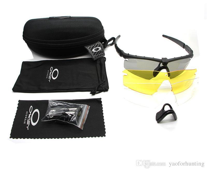 2018 SI M Çerçeve 2.0 3 lens Kamuflaj Bisiklet Çekim Gözlük UV400 Taktik Güneş Erkekler Ordu BALLISTIC Kurşun geçirmez Gözlük