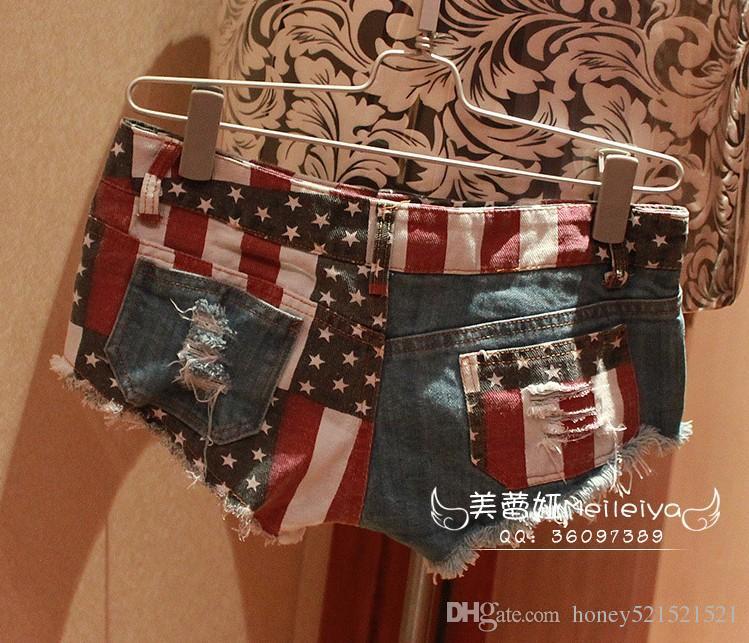 New sexy women's low wait denim jeans stripe stars pattern ripped ultra short club hot shorts dancing shorts SMLXLXXL