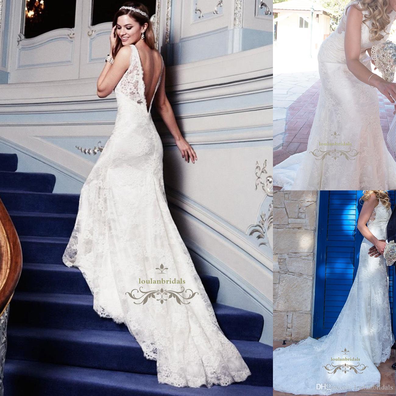 Elegant Designer Exemplifying pure elegance and romance wedding dress delectable deep V-back bridal gowns slim straps and lace composition