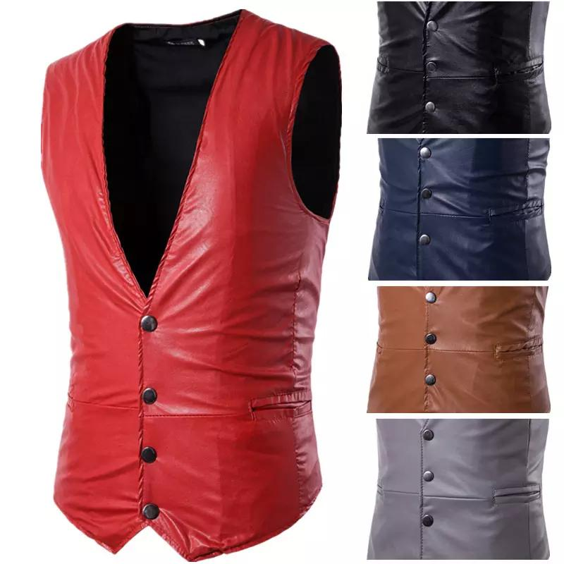 2019 2018 Men S Classic Vest Pu Leather Sleeveless Casual Vest Party